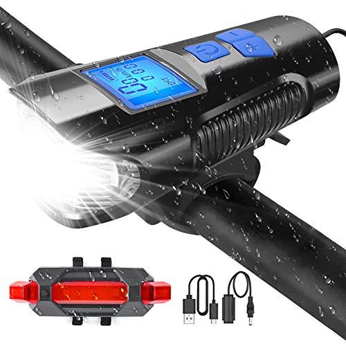 U UZOPI Luz Bicicleta Luces Bicicleta Potentes - Luces Bicicleta Recargable USB Faro Bicicleta con Pantalla LED 4 Modos Impermeable Luz Bicicleta Delantera y Trasera Linterna Bicicletas para Montaña