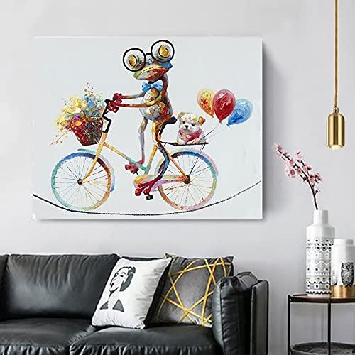 DIY Pintura por Números para Adultos Rana Ciclista Pintar por Numeros para Adultos Niños Pintura por Números con Pinceles y Pinturas Decoraciones (Sin Marco) 30x40cm