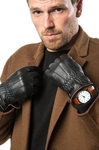 Luxury Mens Real Sheepskin Leather Gloves for Winter and Cold Weather - Touch Screen- Driving - Insulated - Waterproof
