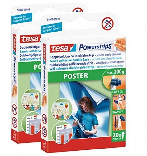 tesa Powerstrips® Poster-Klebestreifen, max. 200 g, spurlos wieder ablösbar (1 Packung mit 20 Stück) (2 Packungen)