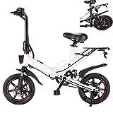 Bicicleta Eléctrica Plegable 14 Pulgadas 400W 25km/h Ciclomotor Bicicletas Bici de Ciudad/Montaña Bateria de Litio 48V 15AH de Aluminio Display LCD para Adultos Hombres Mujeres [EU Stock]