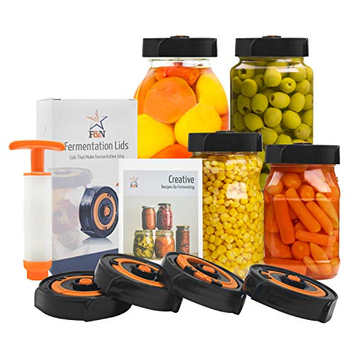 Fermentation Lids for Wide Mouth Mason Jar - 4 x Fermenting Lids (Jars Not Included), Extractor Pump and Ferment Recipe Book Make Sauerkraut, Kimchi, Pickles Or Any Fermented Food.
