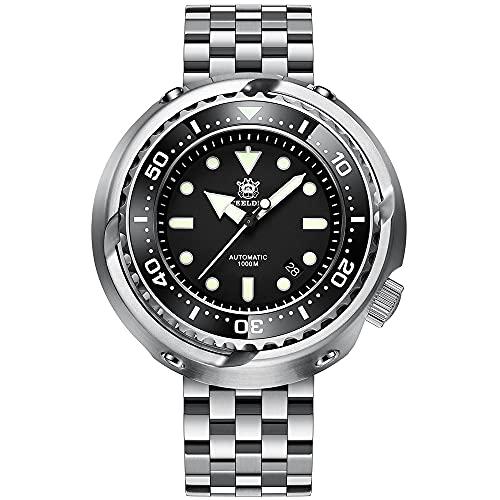 SD1978 - Reloj de buceo automático para hombre (100 bar, correa de acero inoxidable, 53,6 mm, bisel de cerámica), color negro