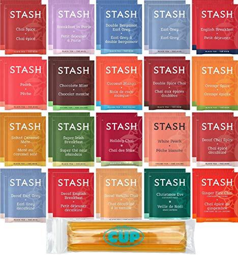 Stash Tea Bag & By The Cup Honey Sticks Variety Sampler Including Black, Decaf & Oolong Teas - 40 Ct, 20 Flavor Assortment