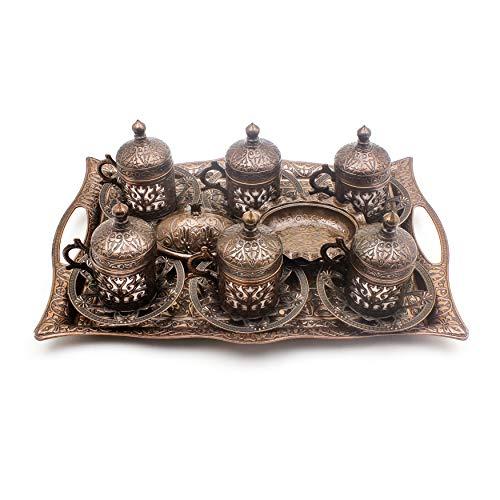 Nosy Nomad Kaffee-Set: 6 türkische Kaffeetassen, Süßigkeitentablett, Original aus Kupfer   Türkisches Kupfer-Kaffeetassen-Set mit osmanischen Tassen   6er-Set
