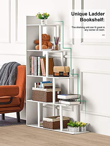 Kealive Ladder Corner Bookshelf 5 Tier Ladder Shelf Corner Bookcase Industrial Bookshelf 63 '' H x 12 '' W x 40 ''L Sturdy Book Shelves Wooden Display Storage Rack for Living Room Home Office (White)