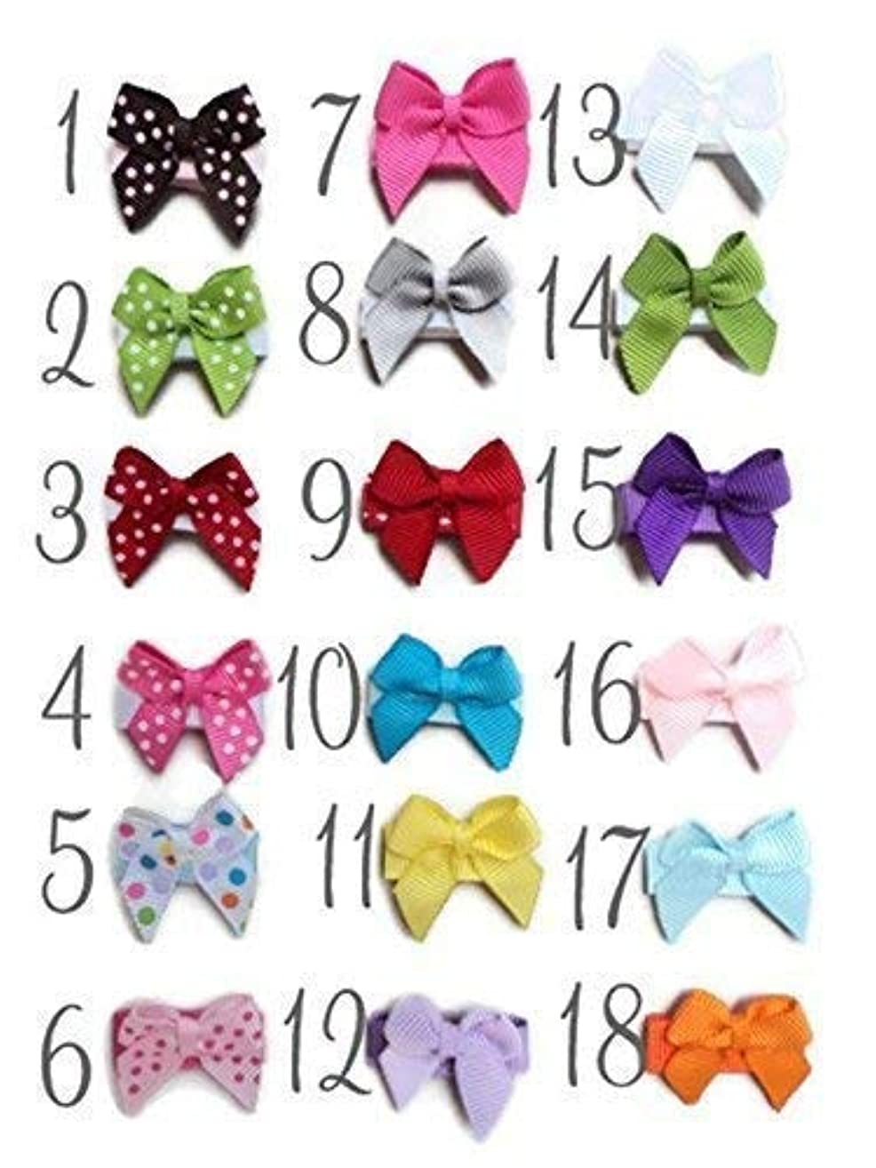 PICK 6 HAIR BOWS Made with VELCRO? brand fasteners for Baby Girl - BEST BABY SHOWER GIFT - Small Bows Traditional Mini Bows Blue White Green Yellow Hot Pink Light Pink Brown Red Lavender YOU PICK 6