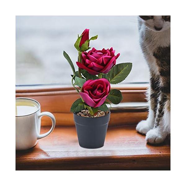 NAHUAA Flores Artificiales Rosa Rojo Púrpura Flor de Plástico en Maceta Rosas Artificiales Decoración Familiar…