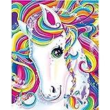Rainbow Pony DIY 5D Diamond Painting by Numbers Kits para niños Adultos Taladro completo Decoración de arte de la pared del hogar redondo, Caballo colorido 12x16 pulgadas / 30x40cm (Tamaño del lienzo)