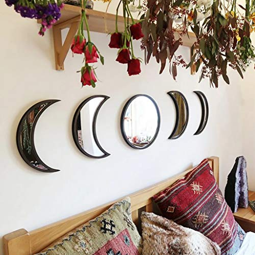 lecduo Espejo decorativo Ins Estilo nórdico Espejo de fase lunar de madera Espejo colgante Espejo dormitorio Decoración acrílico Espejo (negro)