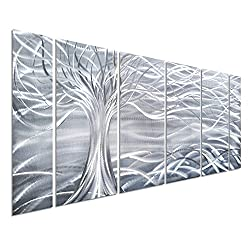Pure Art Willow Tree of Life Metal Wall Art, Abstract Silver Sculpture Decor 3D Wall Art for Modern and Contemporary Decor, 6-Panels 24x 65 for Indoor and Outdoor Spaces, Handmade Original Design