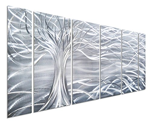 """Pure Art Willow Tree of Life Metal Wall Art, Abstract Silver Sculpture Decor 3D Wall Art for Modern and Contemporary Decor, 6-Panels 24""""x 65"""" for Indoor and Outdoor Spaces, Handmade Original Design"""