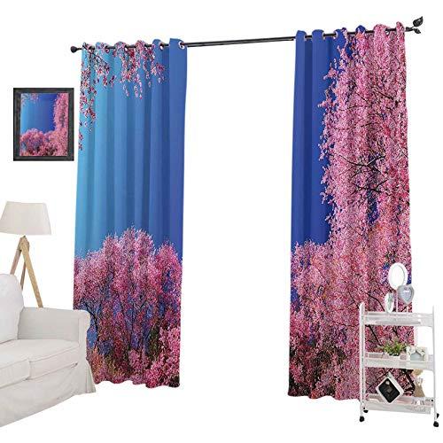 YUAZHOQI Cortina térmica para oscurecer la habitación con aislamiento de cerezo, con vistas al día soleadas, paisajes de primavera, para dormitorio de 132 x 213 cm, color azul fucsia