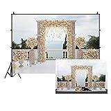 Leowefowa 3x2m Vinilo Primavera Telon de Fondo Mar Boda Elegante decoración de Arco Flor Baclony Jarrones Fondos para Fotografia Party Photo Studio Props Photo Booth