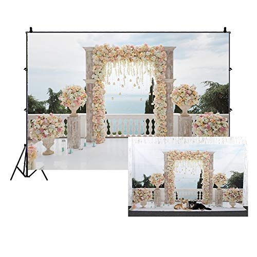 Cassisy 3x2m Vinilo Primavera Telon de Fondo Mar Boda Elegante decoración de Arco Flor Baclony Jarrones Fondos para Fotografia Party Photo Studio Props Photo Booth