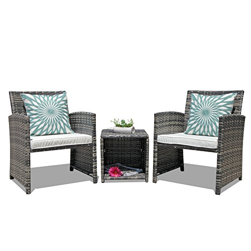 OC Orange-Casual 3-Piece Outdoor Wicker Bistro Patio Furniture Set Cushioned Chair Conversation Set...
