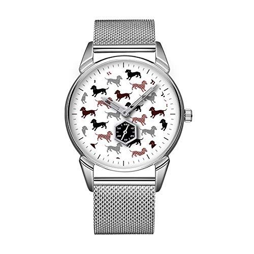 Mode Impermeable Reloj Minimalista Personalidad patrón Reloj Patrón de 284. Damask Tejón Perro Vacaciones