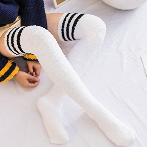 PPangUDing 1Paar Damen Overknee Strümpfe lange Socken Compression Kniestrümpfe Kuschel Gestreift Bunte Stricksocken Sportsocken Herbst Winter Super Weiche Wild Warme Haussocken (Onesize, Weiß)