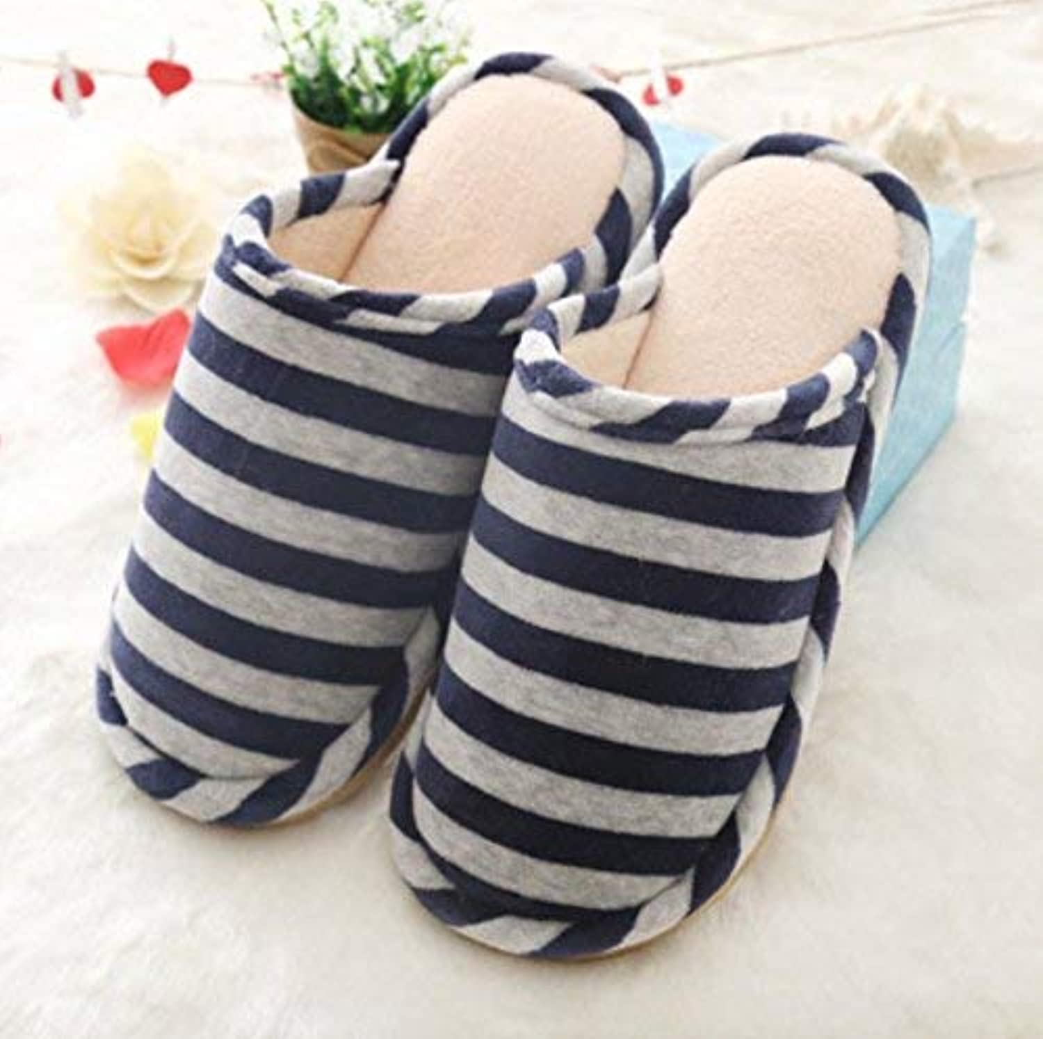 Men 's Home Cotton Slippers Indoor Keep Warm Casual Slippers Mixed color Personality Quality bluee for Men Stripe