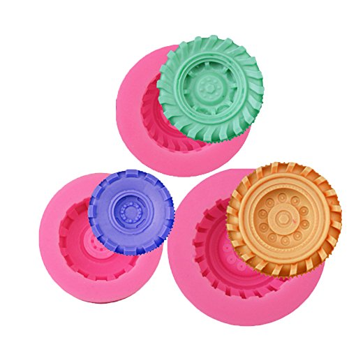 Mity Rain 3D Round Tire Chocolate Mold Candy Molds Cake Silicone Molds Jello Molds Fondant Molds Resin Polymer Clay Molds Soap Molds-Set of 3
