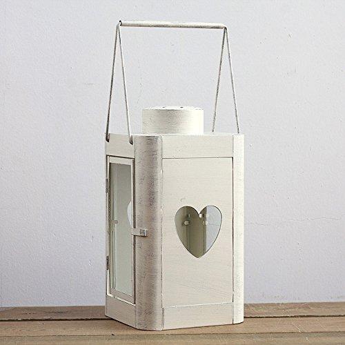 KMYX Européenne Classique Fer Décoratif Bougie Lanternes Portable en Forme de Coeur Fer Forgé Lampadaire Cour Jardin Intérieur Cuisine Salon Ornements Chandelle Bâton Stand Stand (Color : White)