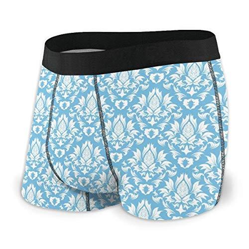 Natürliches Muster in blauem und weißem Bio-Gartenlaub Alte Wiederbelebung hinterlässt Herren-Boxershorts L.