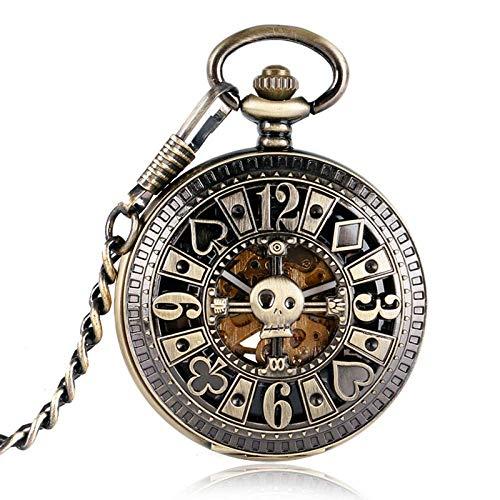 J-Love Reloj de Bolsillo mecánico automático Vintage Bronce Poker Hollow Skull Cadena de Cobre Esqueleto Steampunk Dial Negro Hombres Mujeres Regalo