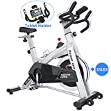 SNODE Indoor Cycling Spin Bike Trainer 35lb flywheel - Stationary Belt Drive Exercise Bike with High Weight Capacity, Tablet Holder, LCD Monitor for Professional Cardio Workout(Model: 8729 2019 New)