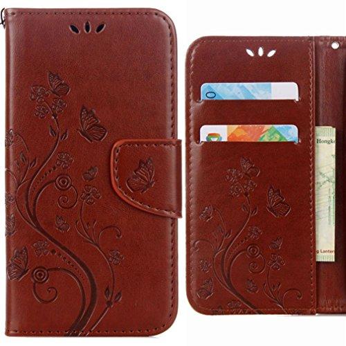 Ougger Handyhülle für Asus Zenfone Go ZB500KL Hülle Tasche, Schmetterling BriefHülle Tasche Schale Schutzhülle PU Leder Weich Magnetisch Silikon Flip Cover mit Kartenslot (Braun)