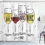 ABAKUHAUS Wein Duschvorhang, 4 Arten des Weinlandes, Wasser Blickdicht inkl.12 Ringe Langhaltig Bakterie & Schimmel Resistent, 175 x 200 cm, Weiß Senf