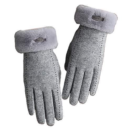 Guantes de invierno para mujer, de lana sintética, con forro de felpa, para pantalla táctil