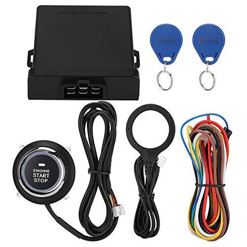 EBTOOLS Botón de Arranque Inteligente del Motor del Coche, Alarma de Coche RFID con Motor 3-5CM Push Start Stop Botón de parada Sistema de Alarma Antirrobo/Bloqueo de Motor RFID