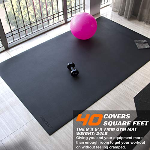 Large Exercise Mat 8'x5'x7mm Workout Mat for Home Gym Mats Exercise Equipment Gym Flooring Rubber Fitness Mat Thick Yoga Mat for Weightlifting, Cardio, Jump Rope, Treadmill, Plyo, MMA, Stretch, Dance, Pilates, Non-Slip, Shock-Absorption, Durable, Shoe-Friendly