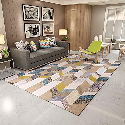 Alfombra para salón, sofá, mesa o dormitorio, moderna, minimalista, rectangular, corta, de terciopelo, 140 x 200 cm