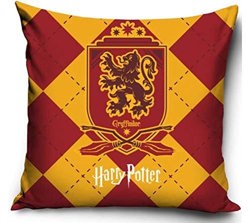 Coole-Fun-T-shirts Harry Potter Gryffindor kussensloop 40x40cm sofakussenhoes rood oranje 4 wapen Ravenclaw Slytherin Hufflepuff Griffindor