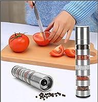2の塩とコショウグラインダーセット、ペッパーミルグラインダー、缶ストア同時に5種類のスパイス、調節可能な粗度