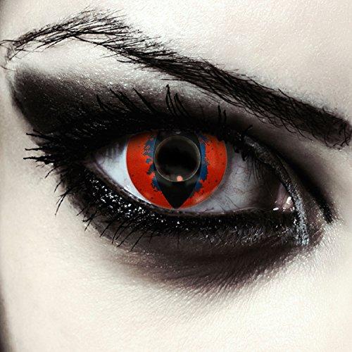 Designlenses Lenti a Contatto Colorate Rosso Occhio di Gatto in Rosse per Halloween Costume, morbide, Non corrette Modello: Death Dragon