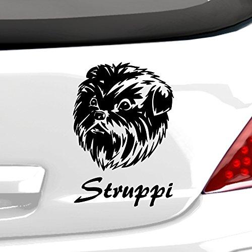 malango® Autoaufkleber Affenpinscher Hund Wunschname Autosicker Hunderasse Tier Tierwelt Aufkleber Sticker ca. 14 x 20 cm haselnussbraun