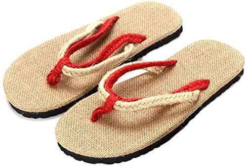 Antideslizante, absorbente de sudor, resistente al desgaste, pantuflas para hombres y mujeres, pantuflas de lino de paja hechas a mano, pantuflas de playa, sandalias de pareja, chanclas de verano, si