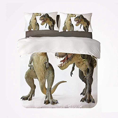 Popun Juego de Funda nórdica Dinosaur Warm 3 Juego de Cama, par de tiranosaurio Rex Frente a Criaturas feroces Depredadores prehistóricos Decorativos para habitación
