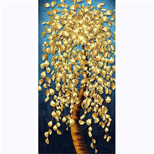 DIY 5D Diamond Painting Kit for Adults kids, Árbol de hoja dorada 24x48in Full Drill Crystal Rhinestone Embroidery Cross Stitch Arts Craft Room Decoration Home Office Gift