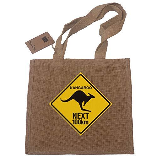 Einkaufstasche mit Känguru-Schild, Australien-Geschenk, Jute, kompakt