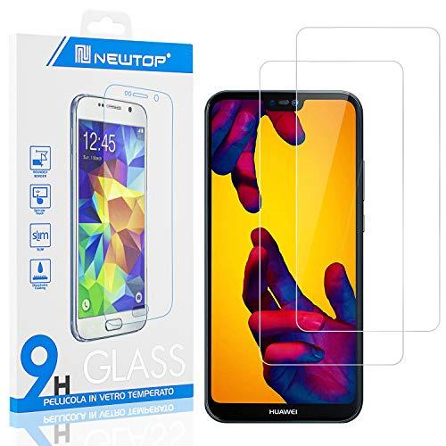 N NEWTOP [2 Pezzi] Pellicola GLASS FILM Compatibile per Huawei P20 Lite 2019, Fina 0.3mm Durezza 9H in Vetro Temperato Proteggi Schermo Display Protettiva Anti Urto Graffio Protezione