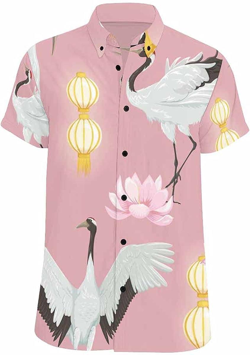 InterestPrint Corals Underwater World Men's Spread Collar Tops Short Sleeve Printed Button Shirt