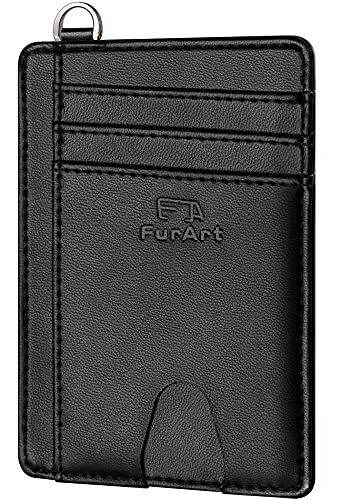FurArt Portefeuille Minimaliste Fin, Porte-Cartes de Crédit avec Blocage Anti RFID, Les Femmes Hommes, Démontage Manille en D,Peau de vache fine noire