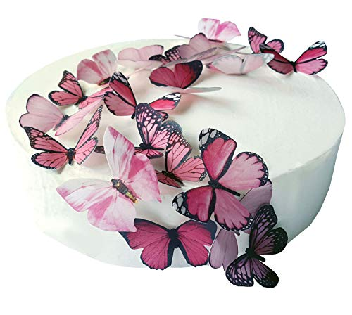 24 X PRE-Cut Beautiful Medium Pink Butterflies Edible Rice/Wafer Paper PRE Cut Cupcake Cake Dessert Toppers Birthday Party Wedding Baby Shower Decorations (Medium)