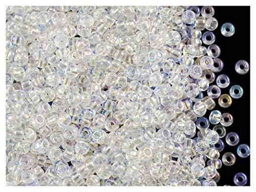 20gr 9/0 (2,8-2,4 mm) Tchèque Ronde Perles de rocaille avec trou rond, Crystal AB