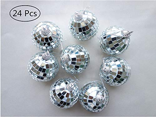 Paper Pig 24 Pcs 2 Inch Disco Ball Decoration Mirror Ball Ornament for Party Christmas Xmas Tree