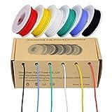 Cable eléctrico de 28 AWG, kit de cables de colores Cable flexible de silicona de calibre 28 (6 carretes de 13 metros de diferentes colores) Resistencia a altas temperaturas de cables aislados de 300V