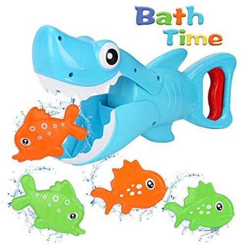 Bammax Badespielzeug, Baby Badewannenspielzeug, Wasserspielzeug, Hai Dusche Spielzeug mit Pole Rod Net, Badewanne Toy Hai mit 8 Fische für Baby und Kleinkind(5pcs)
